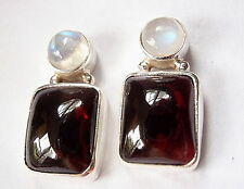 Garnet and Moonstone Stud Earrings 925 Sterling Silver Round Rectangle Gems