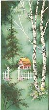 VINTAGE PINK HOUSE WHITE BIRCH TREES NESTLED WOODS 1 CHRISTMAS TOY SHOP ART CARD