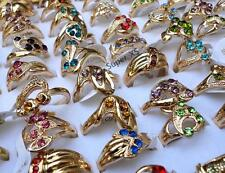 10pcs rhinestone gold Plated Rings New wholesale jewelry lots  free shipping