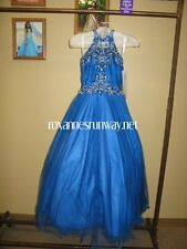 Perfect Angels 1616 Royal Blue Stunning Girls Pageant Gown sz 8