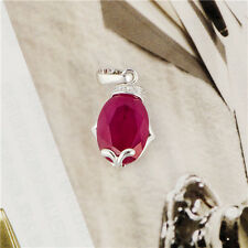 Womens cute jewelry white Gold Plated Red Ruby Pendant fit long necklace