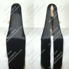 Cos black long straight  cosplay Heat-Resistant   WIG  150cm  +gift
