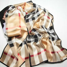 "Women 100% Satin Silk Scarf 67x20"" Hand Sew Edge Shawl Long Wrap yellow 105-034"