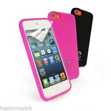 Tuff-Luv iPod Touch 5th Gen Silicone Gel Case X2 & Screen Protector Pink & Black
