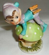 Elf Pixie Gnome Fairy Figurine Mushroom Butterfly Ceramic Pink Green 4""