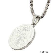 Beautiful Stainless Steel Patron Staint St.Benedict Medal Necklace S size APP