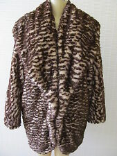 ADRIENNE LANDAU BROWN MIX LONG SLEEVE FAUX FUR COAT SIZE 1 X - NWT