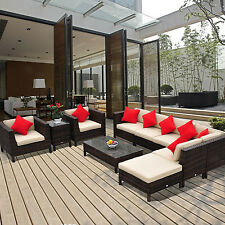 Outsunny 9pc Outdoor Rattan Wicker Sofa Seat Chair Couch Sectional Furniture Set