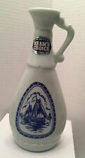 VINTAGE BEAM'S CHOICE DUTCH WINDMILL MILK GLASS DELFT BLUE LIQUOR DECANTER