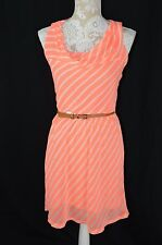 Express Womens XS Neon Orange White Striped Belt Tank Top Dress Cowl Neck Flirty