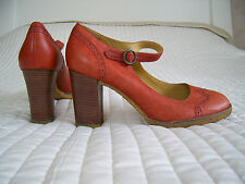 NEW CLARKS ORIGINALS BROGUE MARY JANE COURT LEATHER SHOES RED SIZE 6.5