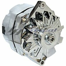 CHROME HIGH OUTPUT ALTERNATOR For CHEVY HOLDEN GM HOTROD BBC 1 ONE WIRE 160 AMP