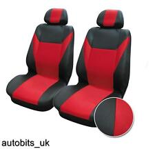 UNIVERSAL FRONT RED BLACK FABRIC SEAT COVERS CAR VAN MOTORHOME BUS MPV TRUCK