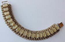 VINTAGE JULIANA TAN MOONSTONE & YELLOW RHINESTONE BRACELET