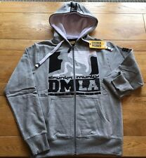 Mens grey marl LTD EDITION DRUNKNMUNKY ''DMLA' zip hoody  sweat, X-LARGE