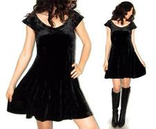 S 90s Vtg BETSEY JOHNSON Crushed BLACK VELVET Skater Punk Mini PINUP Party Dress