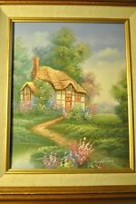 ENGLISH COTTAGE ENGLISH GARDEN ORIGINAL OIL PAINTING SIGNED BY ARTIST MARTEN !!!