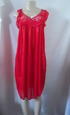 RED SLEEVELESS SHORT NIGHTGOWN CHEMISE SLEEPWEAR POLYESTER LARGE