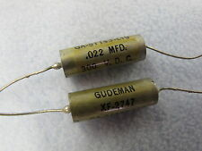 2  GUDEMAN .022 MFD 300V PAPER IN OIL CAPACITOR NOS TESTED (SPRAGUE VITAMIN Q)