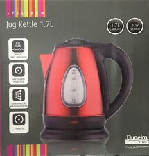 Stainless Steel Spectrum Electric Jug Kettle 3KW 1.7L RED Cordless Dunelm Mill®