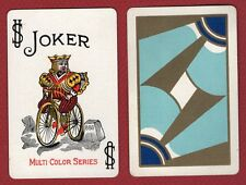 1 Single Swap Playing Card JOKER K3 KING ON BICYCLE 888 DECO VINTAGE MULTI COLOR
