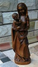 EARLY 20c   ITALIAN WALNUT WOOD CARVED MARY MADONNA HOLDING A CHILD STATUE