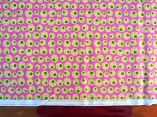 Makower,fabric,for quiltingfat quarter,craft,pink,yellow cirkels