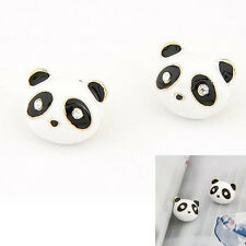Fashion Women's Cute Chic Rhinestone Animal Panda Bear Ear Stud Earrings Jewelry