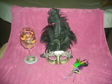 MARDI GRAS MASKERADE BLACK FEATHER MASK WITH BONUS PIN BROOCH AND WINE GLASS