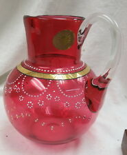 ruby red / cranberry water pitcher / hand blown ball type w/ enamel decorations