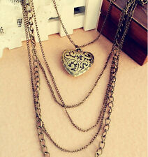 New Fashion Heart Pattern Vintage Long Pendant Jewelry Sweater Chain Necklace