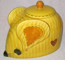 VINTAGE Doranne of California GOLD YELLOW MOUSE W STITCHES COOKIE JAR ~ SO CUTE