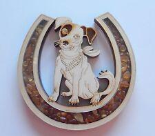 Magnet Horseshoe with Dog - Genuine Amber beads -birch wood0-bandana