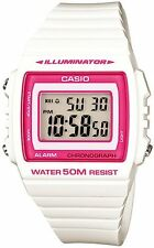 Casio W-215H-7A2 White with pink border Digital Watch W215H-7A2