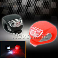 2X Silicone Bike Bicycle Cycling Head Front Rear Wheel LED Flash Light Lamp NEW