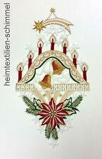 PLAUENER STICKEREI Fensterbild WEIHNACHTEN Winter SCHWIBBOGEN Dekoration KERZEN
