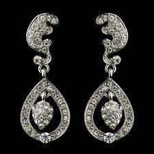 Antique Silver Clear Tear Drop Acorn Earrings #2325