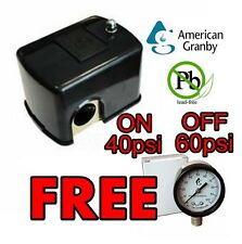 Pressure Switch 40/60 with FREE Pressure Gauge! American Granby NO LEAD for Pump