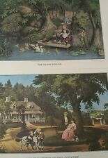 2 Currier and Ives Print Travelers Calander John Hancock & George Washington