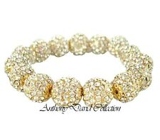 Silver & Gold Metal Pave Crystal Beaded Ball Bracelet with Swarovski Crystals