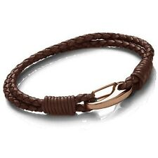 Tribal Steel Brown Leather 2-Strand Bracelet, Rose Gold Shrimp Clasp, 19cm