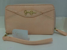 NWT JESSICA SIMPSON ELSA PALE PEACH ZIP AROUND ZIPPY WALLET WRISTLET $45 SALE