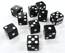 "TEN (10) BLACK DICE WHITE PIPS 6 SIDED D6 DIE GAME SIX 5/8"" 16mm GAMING GAMER"