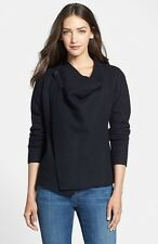 XS EILEEN FISHER BLACK BOILED WOOL WITH LEATHER DRAPE FRONT JACKET NEW