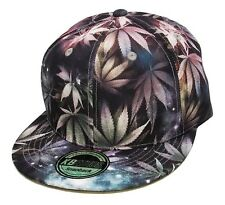 GREY MARIJUANA GALAXY ALL OVER PRINT SNAPBACK HAT CAP WEED LEAF CANNABIS SPACE