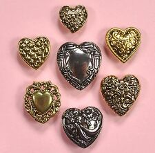 Buttons Galore Large Fancy Hearts 4130 - Gold Silver Vintage Dress It Up