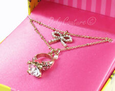 BETSEY JOHNSON Engagement Ring and Bow Two Layer Gold-Tone Necklace w/Gift Box