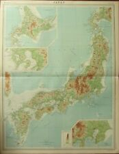1922 LARGE ANTIQUE MAP ~ JAPAN PHYSICAL ~ HONDO YEZO TOKYO BAY