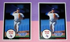 two 1990 NOLAN RYAN Texas Rangers Starting Lineup cards with different stats !