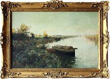 Henry Charles Fox British 20th Century Beautiful River Landscape Oil Painting